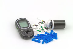 Many strip test of blood glucose meter, the blood sugar value is Royalty Free Stock Photo