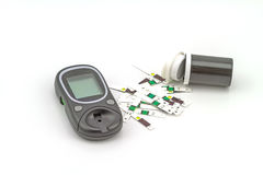 Many strip test of blood glucose meter, the blood sugar value is Royalty Free Stock Photos