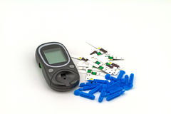 Many strip test of blood glucose meter, the blood sugar value is Stock Photography