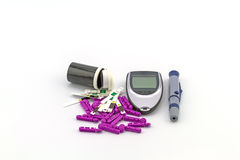 Many strip test of blood glucose meter, the blood sugar value is Stock Images