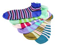 Many Striped Female Ankle Style Socks Stock Image