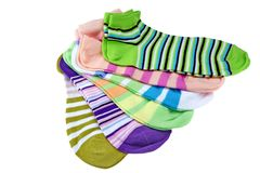 Many Striped Female Ankle Style Socks Stock Photo
