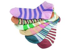 Many Striped Female Ankle Style Socks Royalty Free Stock Image