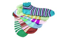 Many Striped Female Ankle Style Socks Royalty Free Stock Photos