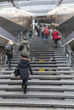 Many students climb stairs to utrecht central railway station in Royalty Free Stock Photography