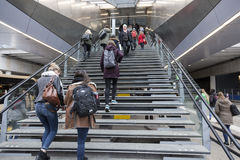 Many students climb stairs to utrecht central railway station in Stock Photos