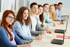 Studying in seminar of university. Many students studying in a seminar of an university Royalty Free Stock Images