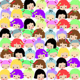 Many styles of girl faces pattern Stock Photo