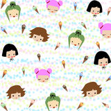 Many styles of girls and colorful ice cream pattern. Many styles of girls and colorful ice cream pattern texture background Stock Photography