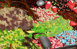 Many sugary candy and chewy for sale in candy stall Stock Images