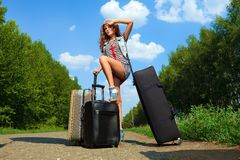 Many suitcases stock photo