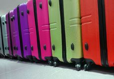 Many suitcases for sale in the travel accessories store. Series of many suitcases for sale in the travel accessories store Royalty Free Stock Photography