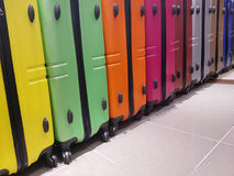 Many suitcases for sale in the travel accessories store. Series of many suitcases for sale in the travel accessories store Royalty Free Stock Images