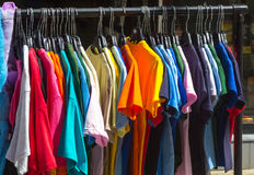 Many summer dresses in various colors Stock Photo