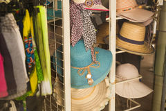 Many summer hats for sale at the market Royalty Free Stock Photography