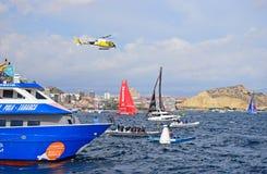 Helicopter Film Crew Volvo Ocean Race Alicante 2017 stock photos