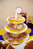 Many sweet birthday cupcakes with flowers and butter cream purple, yellow style Royalty Free Stock Photos