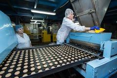 Many sweet cake food factory massive production Royalty Free Stock Image