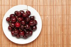 Many sweet cherries on a dish Royalty Free Stock Image