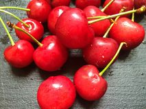 Fresh organic red cherries with stems  Stock Photography