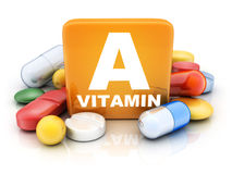 Many Tablets And Vitamin A Stock Photos