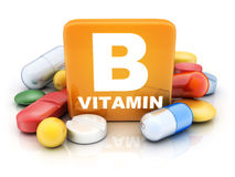 Many tablets and vitamin B Stock Image