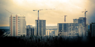 Many tall buildings and cranes Stock Images