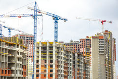 Many tall buildings and cranes Royalty Free Stock Image