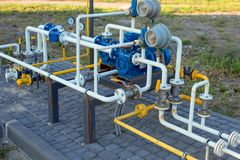 Free Many Tangled Gas Pipes Of Different Colors With Pressure Gauges. Gas Distribution Unit. Industrial Industrial Background Stock Photo - 155832800