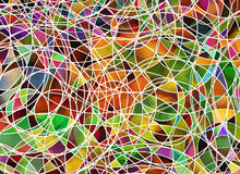 Many tangled lines on multicolored backgrounds Stock Photo