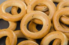 Many tasty bagels Stock Images