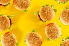 Many tasty fresh unhealthy hamburgers with ketchup and vegetable Stock Photos