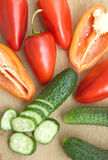 Many tasty vegetables on brown kitchen desk closeu Stock Photo