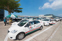 Many taxis by Vungtau ferry station Royalty Free Stock Images