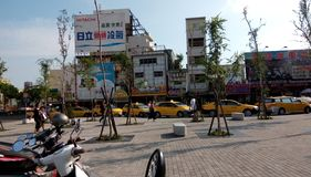 Many taxis, waiting for the next fare near the exit of Railway station stock photo