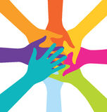Many Teamwork People Join Colorful Hand Stock Photos