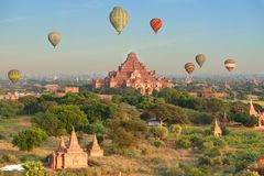 Many temple and pagoda in bagan myanmar with hot air balloon Stock Photos