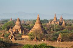 Many temples in Bagan at morning Stock Image