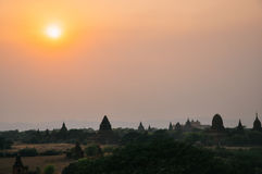 Many temples in the horizon in Bagan. stock image
