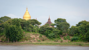 Many temples near the Irrawaddy river, Bagan Stock Photo