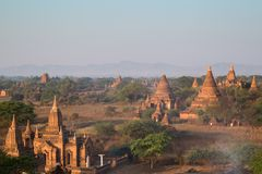 Many temples in Bagan at morning Stock Photo