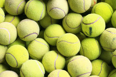 Many tennis ball. Photograph of numerous tennis balls from above stock photo