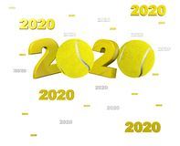 Many Tennis ball 2020 Designs. With a White Background vector illustration