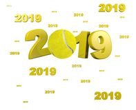 Many Tennis ball 2019 Designs. With a White Background stock illustration