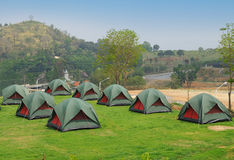 Many Tents on green grass Royalty Free Stock Images