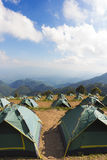 Many Tents on the mountain and blue sky view Royalty Free Stock Photos
