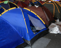 Many tents on street. For Thai protestor to against government Stock Images