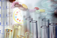 Many test tubes in laboratory. Stock Photos