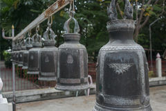 Many Thai bell  in the Thai temple Stock Image