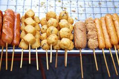 Many thai meatball fried Royalty Free Stock Photos